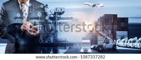World map with logistic network distribution on background. Logistic and transport concept in front Industrial Container Cargo freight ship for Concept of fast or instant shipping, Online goods orders #1087337282