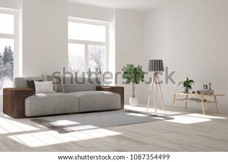 White room with sofa and winter landscape in window. Scandinavian interior design. 3D illustration #1087354499