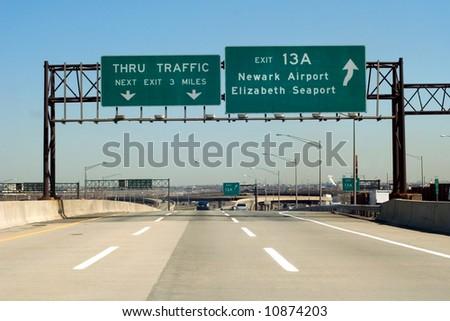 NJ Turnpike (I-95) exit to Newark and Elizabeth, New Jersey