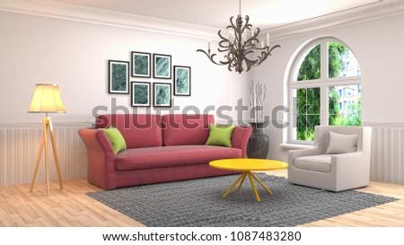 Interior living room. 3d illustration #1087483280