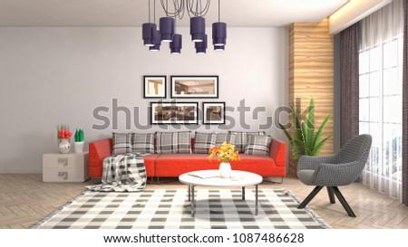 Interior living room. 3d illustration #1087486628