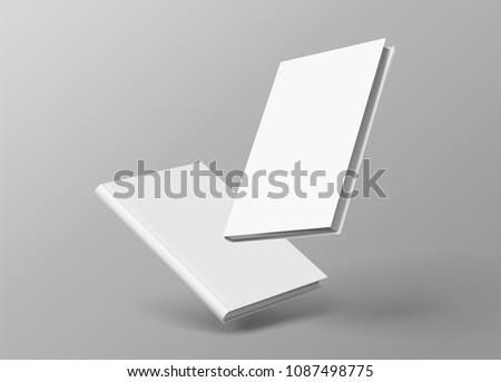 Hardcover books set floating on grey background in 3d illustration