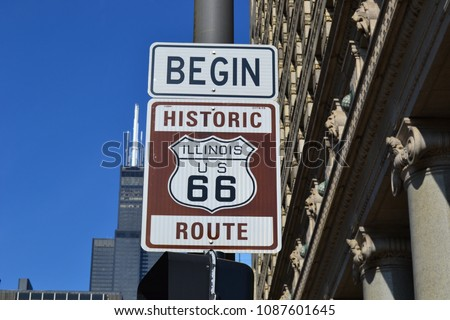 Historic Route 66 Begin Chicago #1087601645