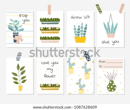Set of cute cards with house plants and phrases. Vector hand drawn illustration.