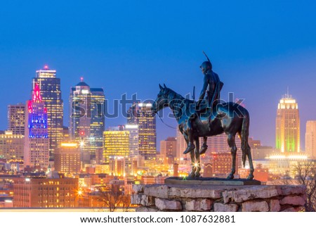 Kansas City skyline with The Scout overlooking(108 years old statue) It was conceived in 1910