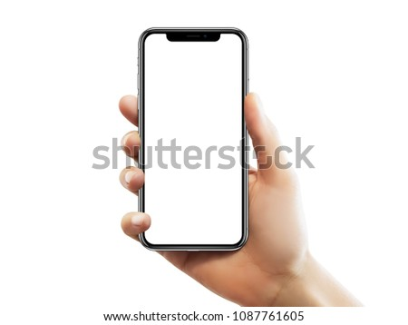 ISTANBUL - MAY 10, 2018: Apple iPhone X screen with empty screen holding by a female hand against isolated white background. #1087761605