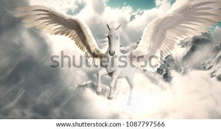 white Pegasus flying in sky