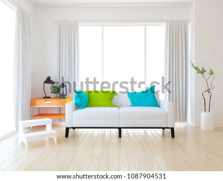 Idea of white scandinavian living room interior with sofa, vases on the wooden floor and decor on the large wall and white landscape in windows with curtains. Home nordic interior. 3D illustration #1087904531