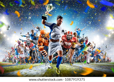 Grand arena sports collage soccer basketball hockey baseball american football etc Royalty-Free Stock Photo #1087919375