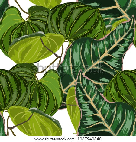 Watercolor seamless pattern with tropical leaves: palms, monstera, passion fruit. Beautiful allover print with hand drawn exotic plants. Swimwear botanical design. Vector.  #1087940840