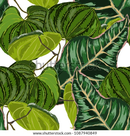 Watercolor seamless pattern with tropical leaves: palms, monstera, passion fruit. Beautiful allover print with hand drawn exotic plants. Swimwear botanical design. Vector.  #1087940849