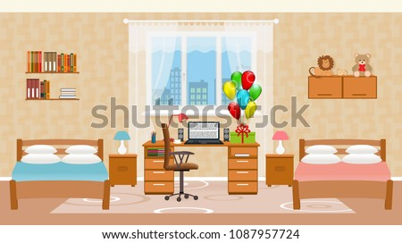 Children bedroom interior with two beds, holiday balloons, toys, table with desktop computer and window. Design of sleeping room for children. Vector illustration.