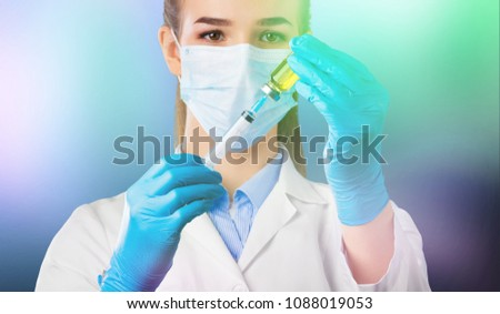 Vaccine with hypodermic syringe #1088019053