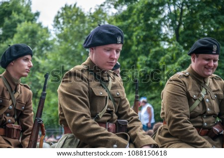Warsaw, Poland, August 15, 2014; Soldiers in historic uniform during Parade of the Polish Armed Forces Day parade.  #1088150618