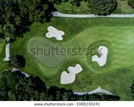 Aerial photograph of forest and golf course.