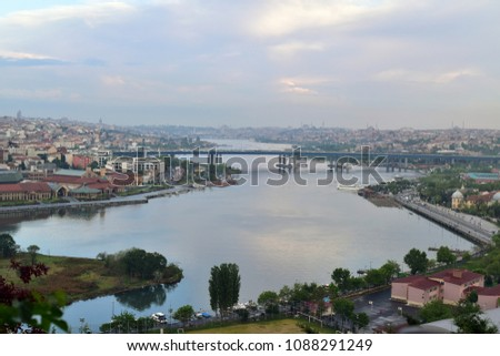 Istanbul/TURKEY, May 8, 2018: Panoramic view of Golden Horn strait, Halic in Turkish, from Eyup-Pierre Loti #1088291249