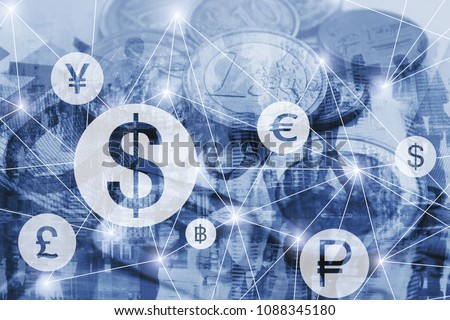 money exchange concept, symbols of different foreign currencies connected on virtual network interface, dollar, euro and pound