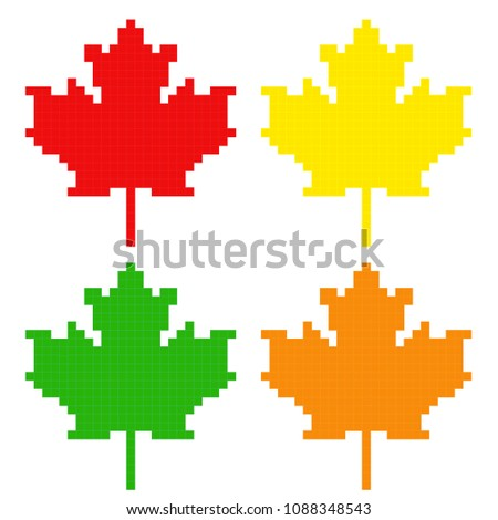 Symbol of Canada Maple Leaf. Pixel art game  style Flag. Happy Thanksgiving. Creative pixel art  of Maple Leaf and Flag of the Canada . Happy thanksgiving day vector icon for web and mobile.