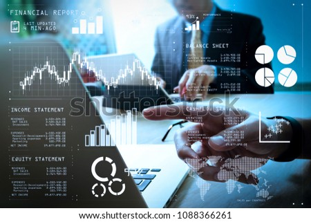 Financial report data of business operations (balance sheet and  income statement and diagram) as Fintech concept.Business team meeting present. professional investor working new startup project. #1088366261