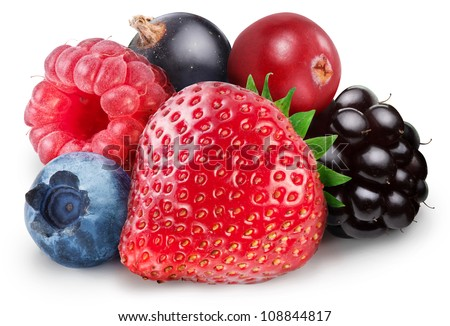 Collection of wild berries isolated on a white background. File contains clipping path. #108844817