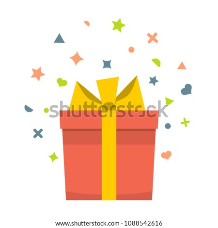 Beautiful cardboard and paper gift box with lid and ribbon.  #1088542616