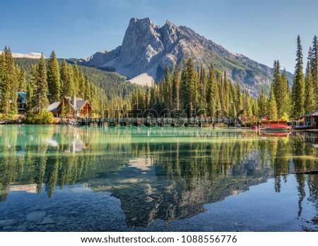 Emerald Lake in Autumn Yoho National Park #1088556776