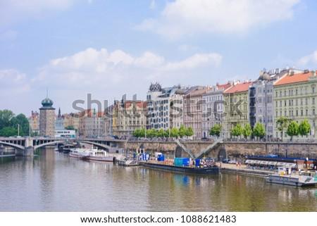 PRAGUE, CZECH REPUBLIC - MAY 2017: Masarykovo embankment. Vltava river. Prague. #1088621483