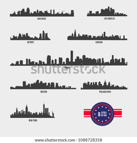 Most Famous USA Cities Skyline City Silhouette Design Collection
