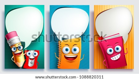 Education characters vector poster set with empty white speech bubbles and talking or speaking posture for back to school design. Vector illustration.