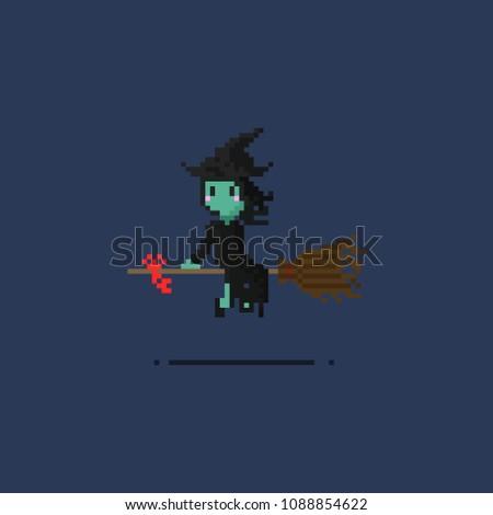 Pixel witch.8bit art.