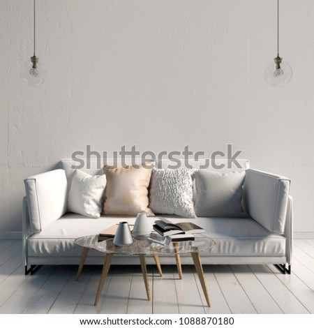 Modern interior with coffee table and sofa. Wall mock up. 3d illustration. #1088870180