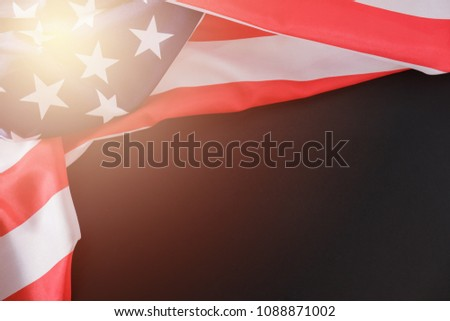 USA flag. American flag. American flag blowing wind. Close-up. Studio shot on blackboard with copy space #1088871002