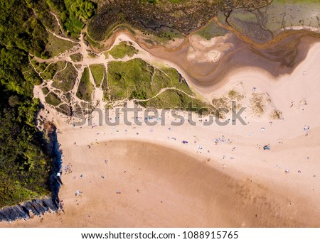 Aerial - Three Cliffs Bay, Gower Peninsula, Swansea, Wales. #1088915765