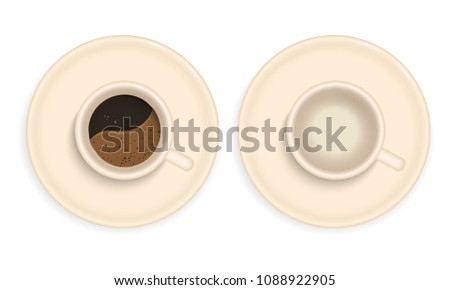 Realistic illustration of a porcelain cup of coffee - vector, isolated on white background #1088922905