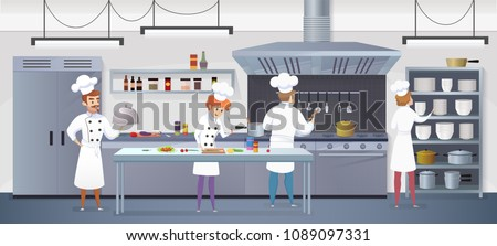 Commercial Kitchen with Cartoon Characters Chef Cook Dish Dinner. Vector Illustration of restaurant kitchen with Culinary Staff Holding Round Cloche Tray with Food. Royalty-Free Stock Photo #1089097331
