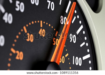 speedometer of a truck at cruising speed of 80 km/h Royalty-Free Stock Photo #1089111356