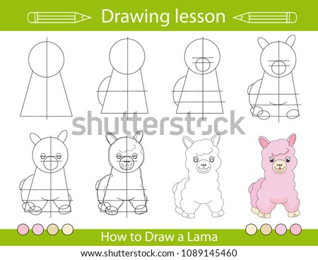 Drawing lesson for children. How draw a cartoon cute little lama. Drawing tutorial with funny cartoon funy llama. Step by step repeats the picture. Kids activity page for book. Vector illustration.