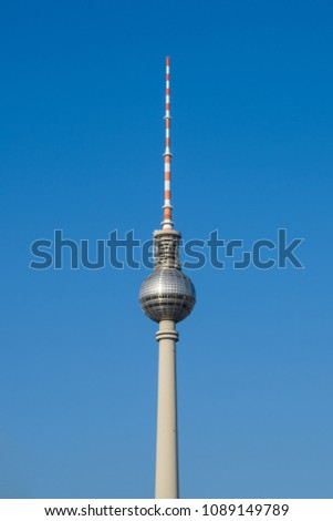 Berlin, Germany - may, 2018: The Television tower / Tv Tower (Fernsehturm), the most famous landmark in  Berlin,  Germany #1089149789