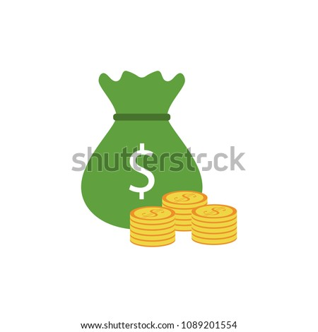 bag of money and coins colored icon. Element of bankings for mobile concept and web apps. Detailed bag of money and coins colored icon can be used for web and mobile on white background #1089201554