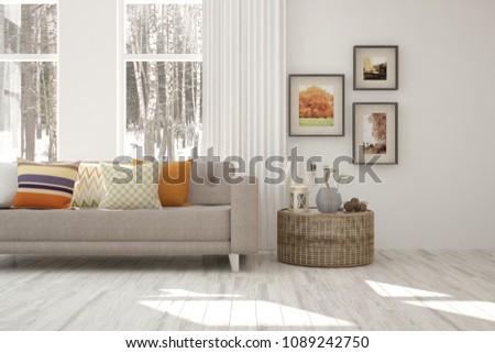 Idea of white minimalist room with sofa. Scandinavian interior design. 3D illustration #1089242750