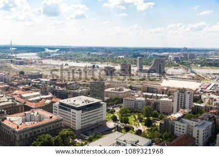 BELGRADE, SERBIA - JUNE, 2018: Panoramic view of the Belgrade, capital of the Serbia #1089321968