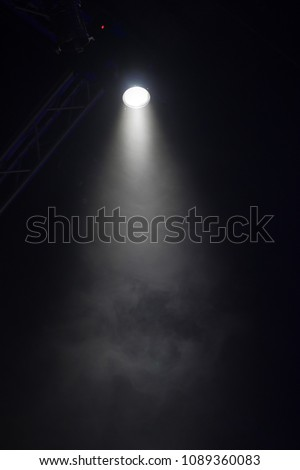 scene, stage light with colored spotlights and smoke #1089360083