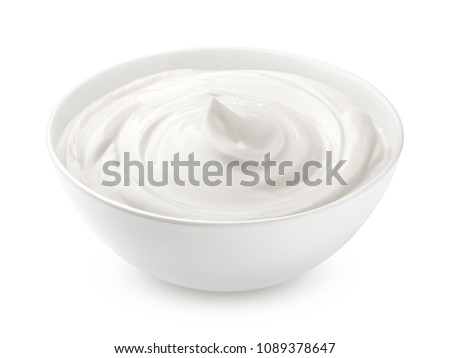 sour cream in glass, mayonnaise, yogurt, isolated on white background, clipping path, full depth of field #1089378647