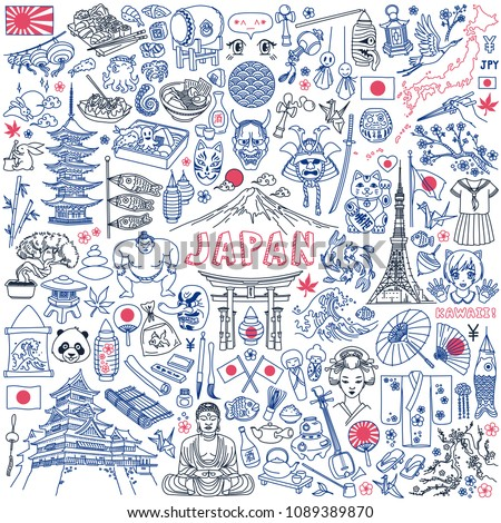 Japan traditional symbols, food and landmarks doodle set. Hand drawn vector illustration isolated on white background. Japanese characters on bottle translation: sake.