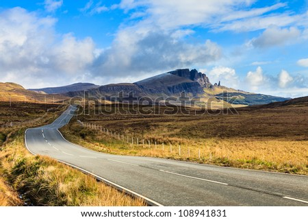 Highway through a desolate landscape in Scotland #108941831