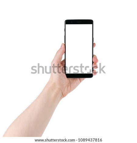 man hand holding smartphone with white screen isolated on white background #1089437816