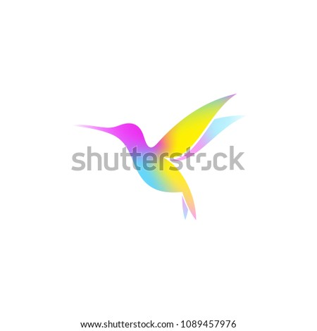 Hummingbird. Logo. Bright bird on white background. Vector illustration EPS10. Creative animal #1089457976