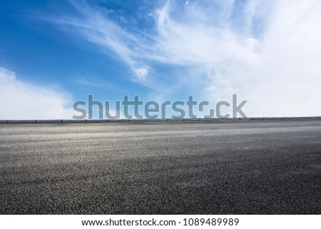 new asphalt road and sky clouds #1089489989