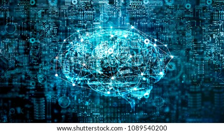 Artificial Intelligence digital Brain future technology on motherboard computer. Binary data. Brain of AI. Futuristic Innovative technology in science concept  #1089540200
