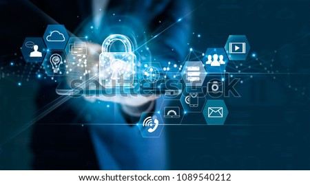 Data protection privacy concept. GDPR. EU. Cyber security network. Business man protecting data personal information on tablet. Padlock icon and internet technology networking connection on digital  Royalty-Free Stock Photo #1089540212